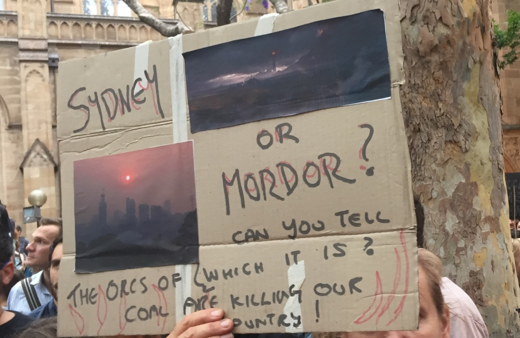 Sydney or Mordor protest sign